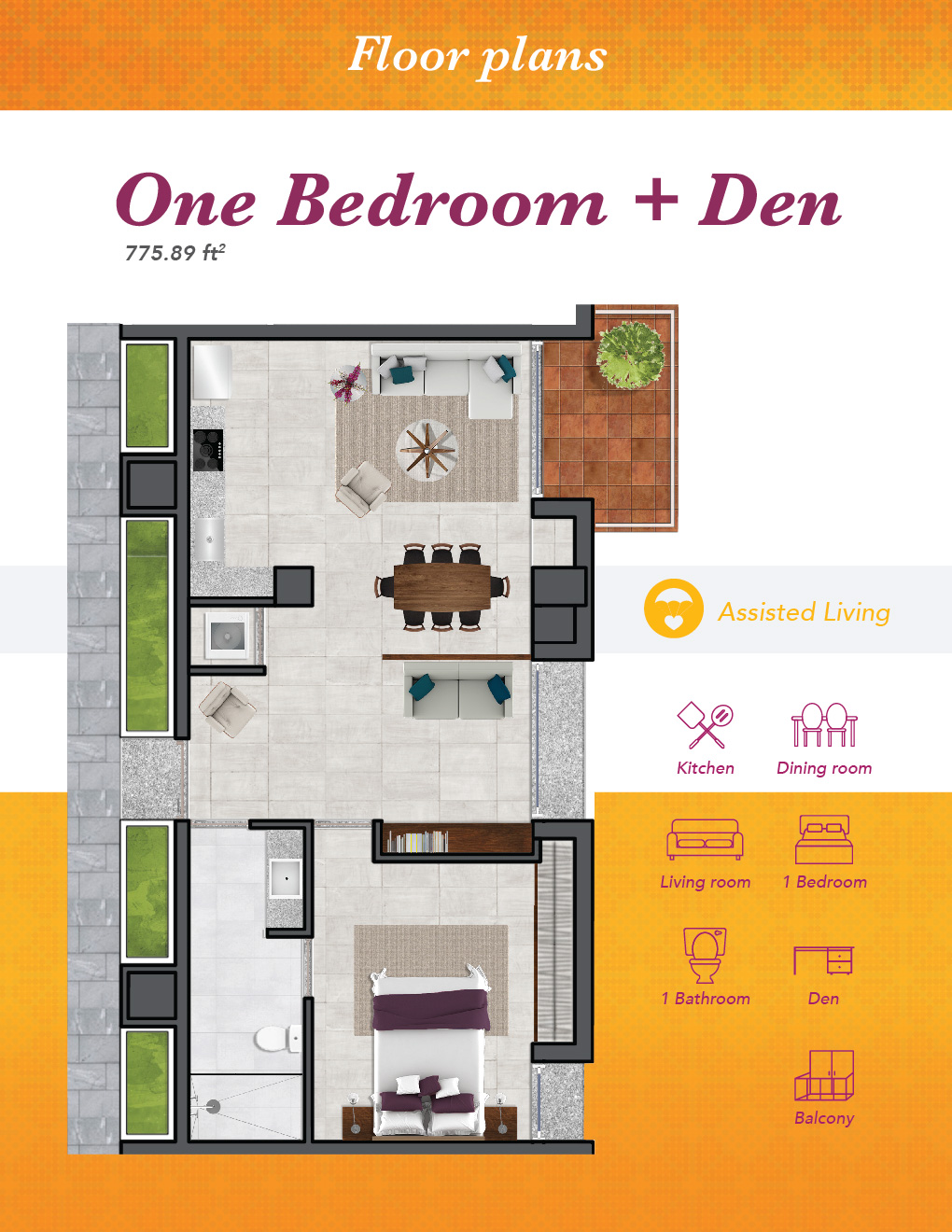 AL One bedroom with den 01