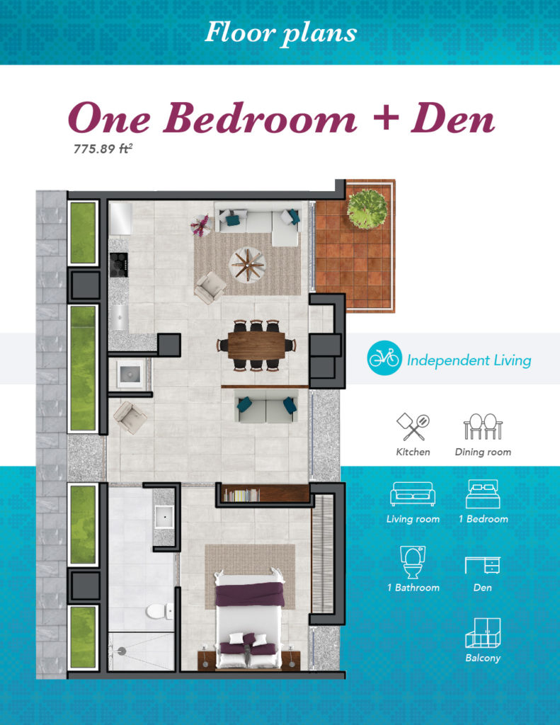 IL One bedroom with den 01